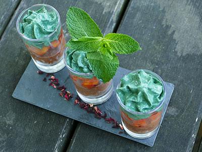 Délicieuses verrines de spiruline fraîche